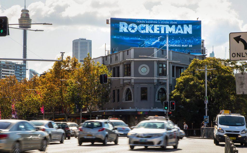 Rocketman road advertising on billboard