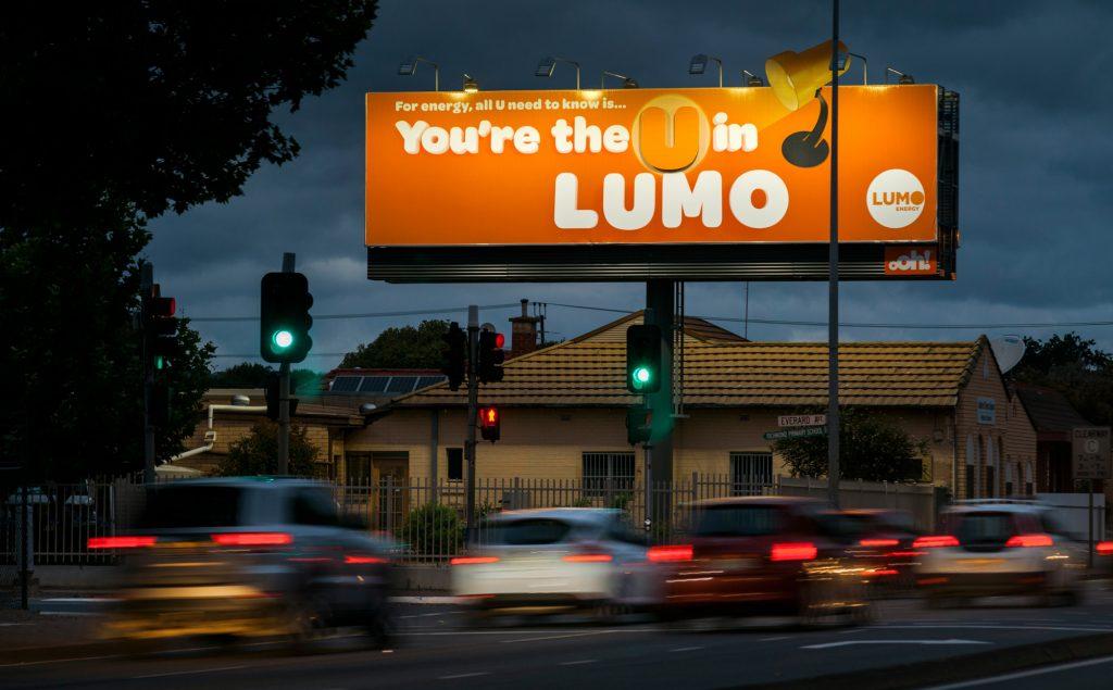 Lumo road advertising on billboard