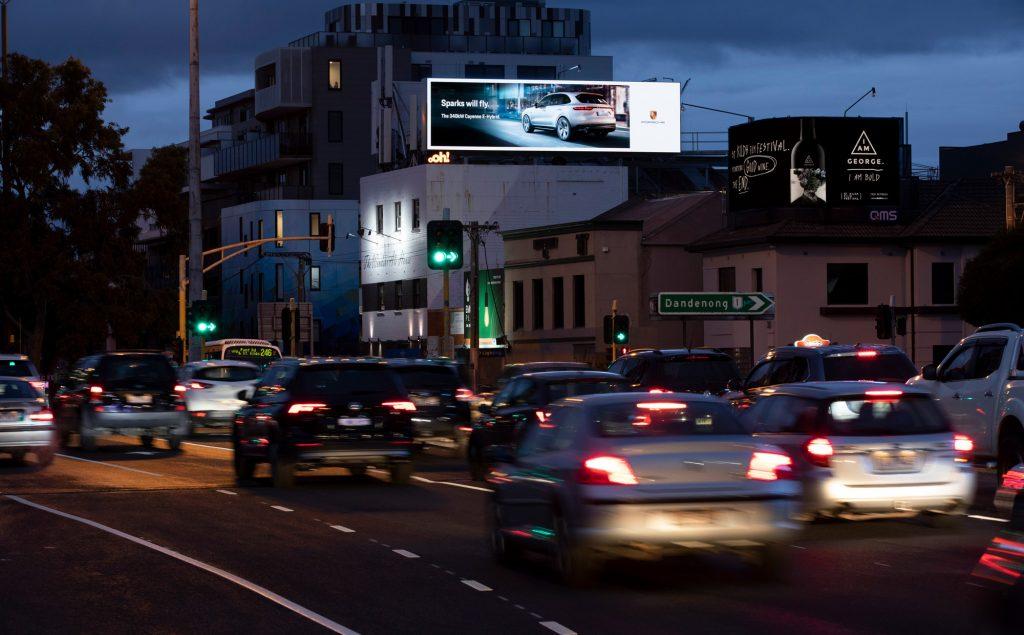 Porsche road advertising on billboard