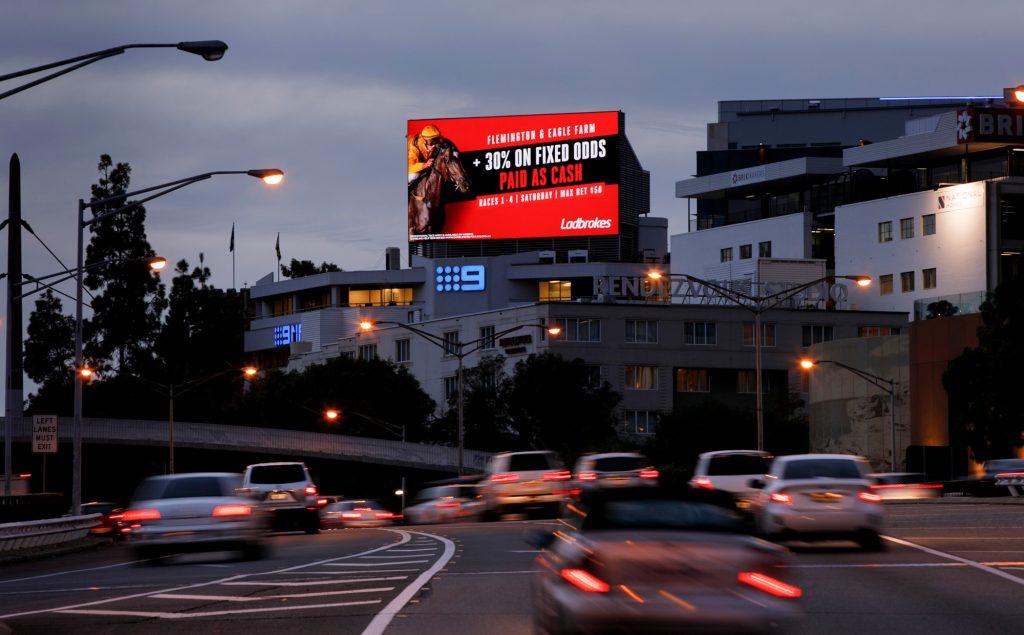 Ladbrokes road advertising on billboard
