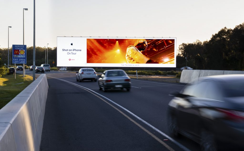 Apple road advertising on billboard