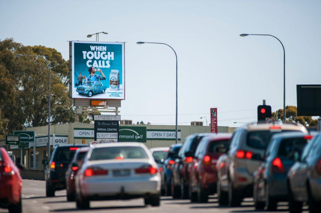 Road advertising on billboard