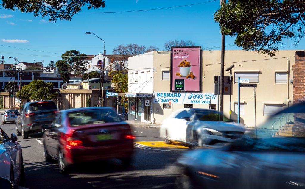 Uber Eats road advertising on billboard