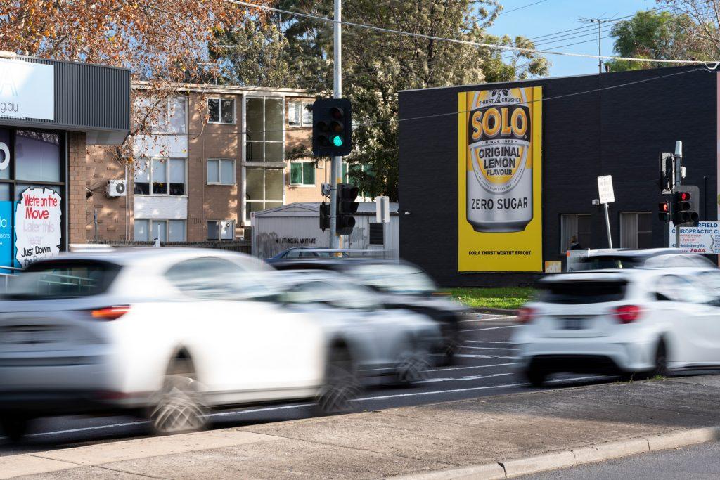 Solo road advertising on billboard